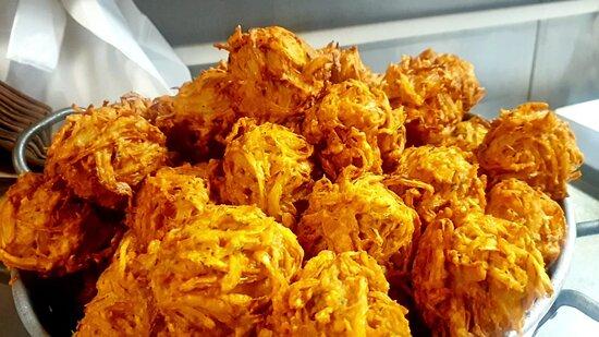 Crispy freshly made Onion Bhajies