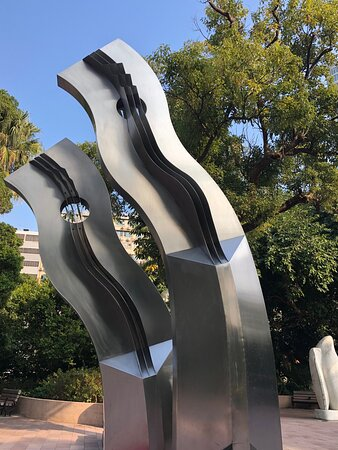 """""""Transformation"""" by artist Hon Bong-Wah, one of 20 or so sculptures at the Sculpture Garden inside Kowloon Park"""