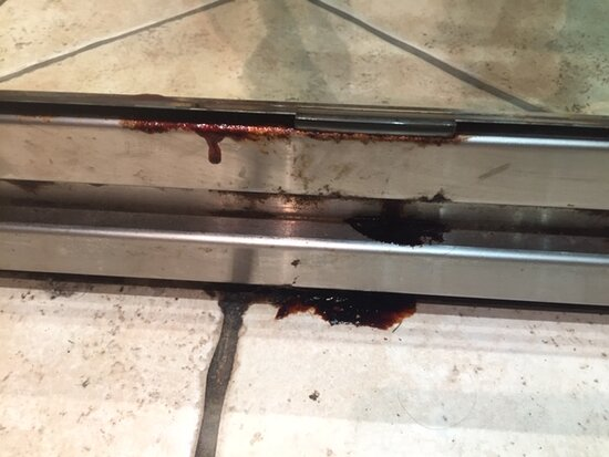 What looked like blood in lift for a week before being cleaned