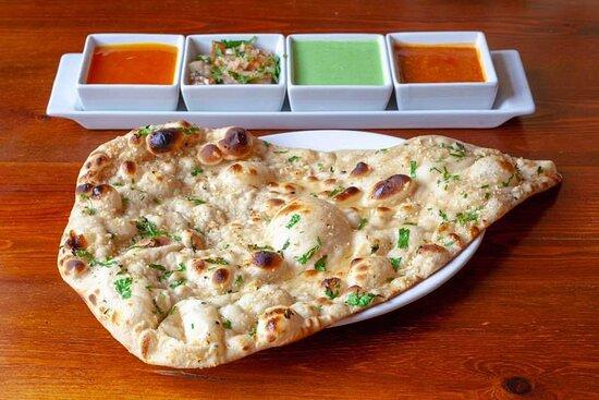 Garlic Naan with Gurkha special chutneys