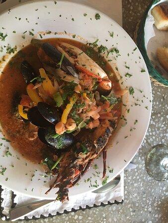Fabulous! Seafood soup, sea bass and chicken fajita.