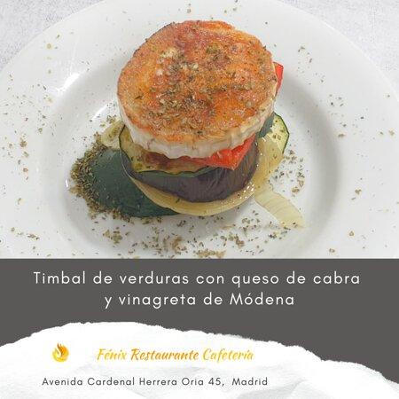 Timbal de verduras con queso de cabra y vinagreta de Módena