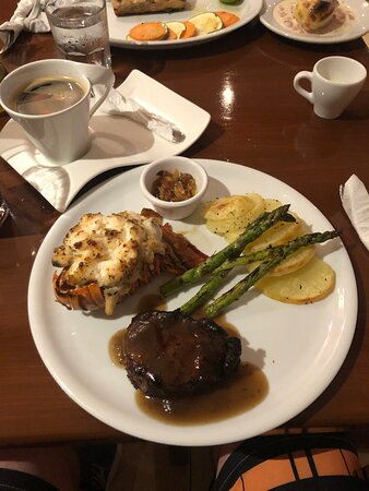 The surf and turf, baked potato sliced with asparagus and coffee - Amazing!