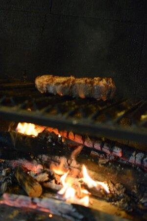 Wood fire grill.