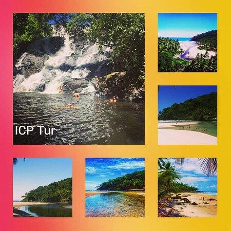 Praia de Jeribucaçu Day Tour pick in Itacaré: Praia Jeribucaçu e Cachoeira da Usina Considerada uma das trilhas mas belas de Itacaré, saindo de veiculo a 10km, em seguida uma caminhada por trilha atè a cachoeira da usina. Com 25 metro de altura, uma bacia de 3 metro de profundidade. Depois de um banho na cachoeira, vamos seguir 40 minutos de trilha entre a mata atlântica até a praia paradisíaca de Jeribucaçu. OBs: preço por pessoa, incluso transporte e guia Descida pela cachoeira opcional e sem custo adicional Saida  09:00Hs retono as 17:00