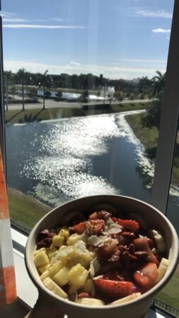My INCREDIBLE view from my room, enjoying my pitaya bowl from Raw Juce (East Boca) !