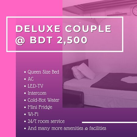 Our Couple/ double rooms have a single double bed, but we can always add a sofa bed if you would like to increase the capacity to three people. Our double rooms are equipped with: * Queen Size Bed *LCD-TV *Internet *AC *Telephone *Seating Unit *Mini Fridge For Booking Call Now 01784393211 (Whatsapp Available)