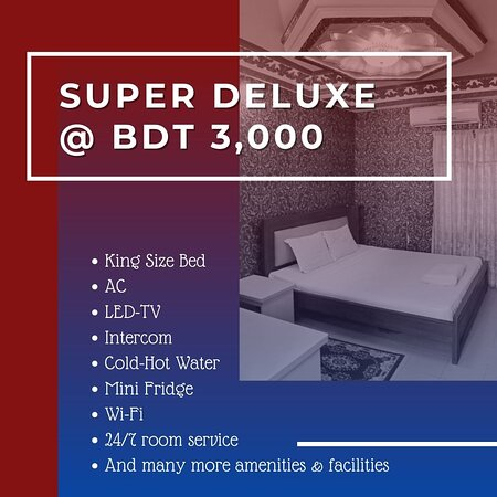 Our Super Deluxe rooms have a single King size bed with a big space, but we can always add a sofa bed if you would like to increase the capacity to three people. Our Super Deluxe rooms are equipped with: * King Size Bed *LCD-TV *Internet *AC *Telephone *Seating Unit *Mini Fridge For Booking Call Now 01784393211 (Whatsapp Available) Website: www.hotelbeijinguttara.com