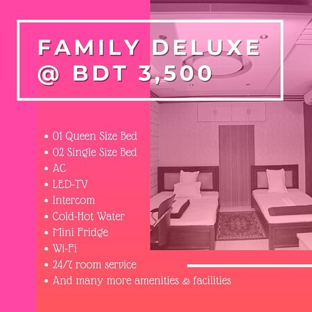 Our Family Deluxe rooms have a single double size bed & two single size bed, Capacity of four people. Our Family Deluxe rooms have a single double size bed & two single sizes bed, a capacity of four people. Our Family Deluxe rooms are equipped with: *A Queen Size Bed *Two Single Size Bed *LCD-TV *Internet *AC *Telephone *Seating Unit *Mini Fridge For Booking Call Now 01784393211 (Whatsapp Available) Website: www.hotelbeijinguttara.com