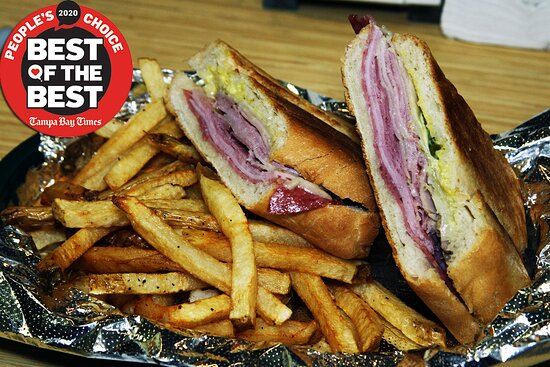 Our Award-Winning Cuban Sandwich and fries!