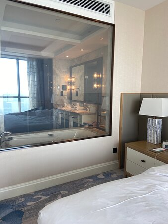 The room is very spacious. That glass the separates the bathroom and bedroom can be dimmed completely if you want privacy.