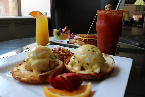 Crab Benedict for Breakfast,Why Not? Poets Modern Cocktails & Eats