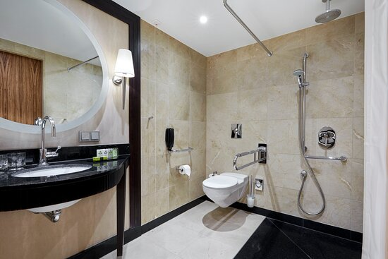 A well-equipped bathroom in an accessible room.