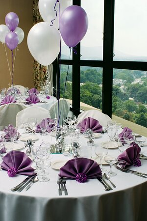 Tables at Top Purple Fan Fold - Banquet Room