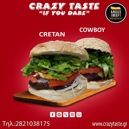 Cretan:Beef burger 210gr, graviera cretan cheese, staka sauce, tomato, onion, lettuce & egg! Cowboy:Beef burger 210gr, cheddar cheese, crispy bacon, vegetables & BBQ sauce!