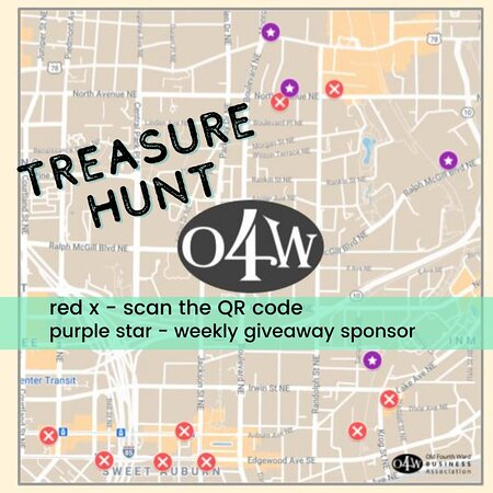@O4WBA Treasure Hunt begins NOW! Come find 8 out of the 10 QR codes hidden all over the Old Fourth Ward.   Heads up: @ourbaratl is one of the spots 🤐  $200 prize #O4WHunt