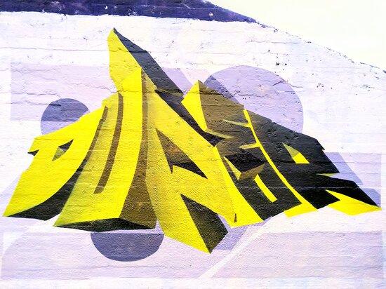 DUPER throwie by Ghent street artist Duper at Grindbakken legal zone. Ben organises free urban, graffiti & street art tours.