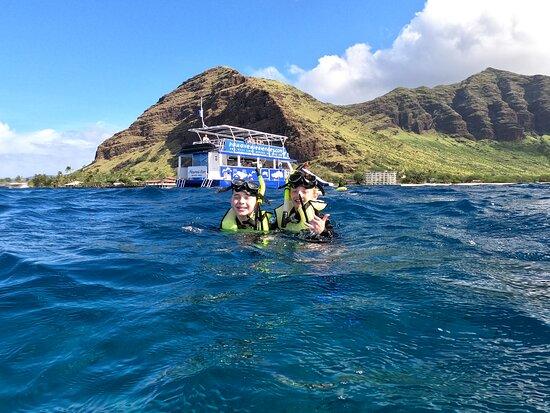 """Sunrise Dolphin Turtle Reef Snorkel Experience - Oahu, Hawaii: The kids snorkeling in the """"Secret"""" spot"""