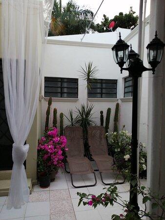 Jardín con camastros