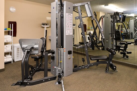 Fully equipped gym with lots of aerobic and weight equipment