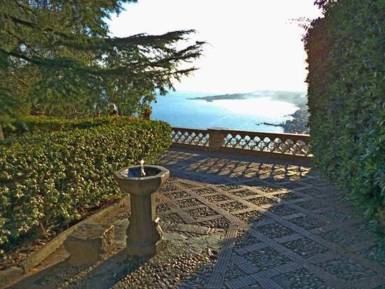 Overview from Public Garden of Taormina that is possible to admire sitting in one bench