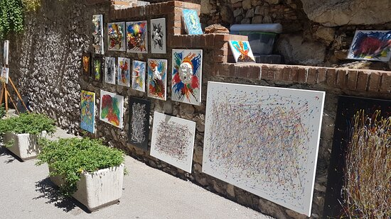 Taormina the color of paintings along the Greek Theater street