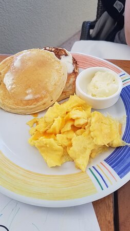 Kids pancakes & eggs from Duo - note: kids 5 & under eat free!