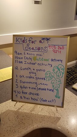 Kids club daily itinerary