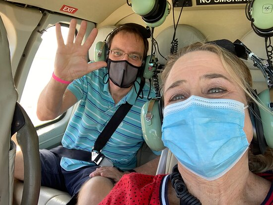 Us in the helicopter