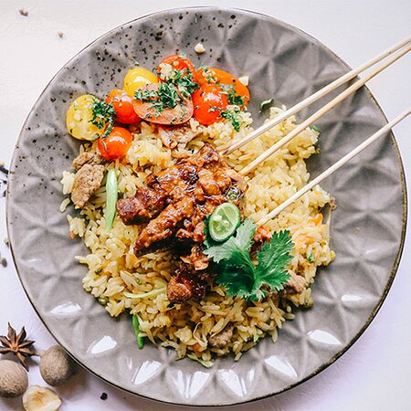 Authentic Asian lamb fried rice with spicy yellow sauce ,don't forget to try!