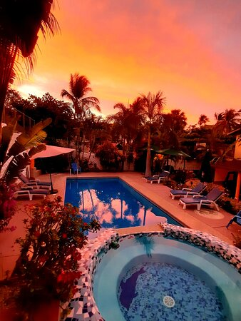 Sunrise over the Swiss Oasis in Mexico - located only 50 meter from the Playa Zicatela beach and in the heart of everything you need, Restaurants, Shops, Bars etc.