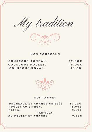 Nouveau horaires du restaurant my tradition et son MENU