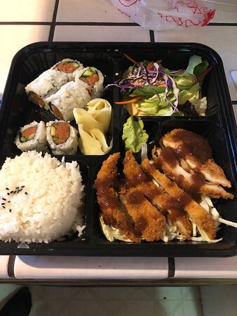 Spicy tuna roll (doesn't come with avocado) And Katsu chicken to go.