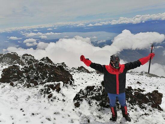 Cliente felice en el Volcán Villarrica!