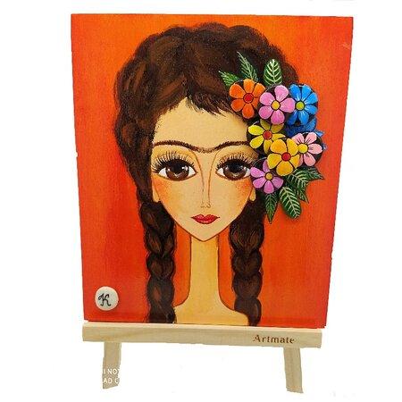 "Pebble art painting. Acrylic painting on wood and pebbles. ""Frida Kahlo"""