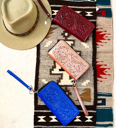 Beautiful, unique leather clutch wallets!  Come and take a look at all our leather goods!