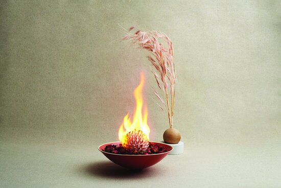 Peach Blossoms Baked Alaska with Lychee and Wolfberries