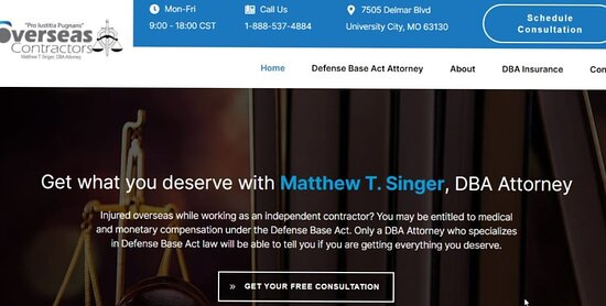 University City, MO: Overseas Contractors is run by attorney, Matthew Singer, one of the nation's top defense base act lawyers. If you are an overseas contractor that was injured abroad, chances are you are entitled to claim defense base act insurance. You need a great DBA Attorney. Call us today! 1-888-537-4884