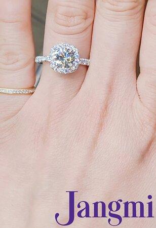 1.7ct round cut diamond on our custom cushion halo pave setting