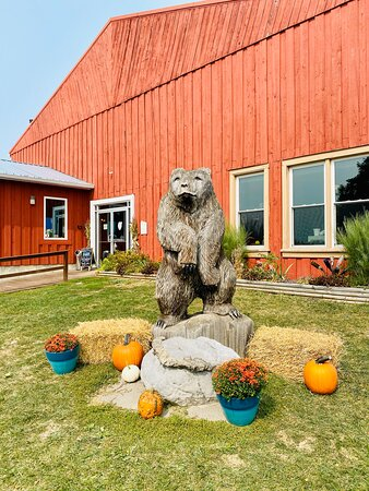 Take a picture with our famous bear on your way in to the winery.