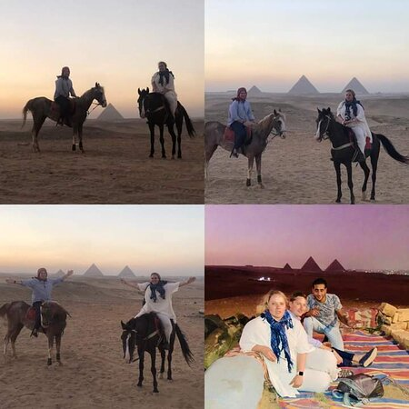 Riding Arabian Horses in Sahara desert with pyramids view and enjoy drinking bedwin egyption tea in bedwin tent in heart of desert with Authentic Egypt you will feel the difference 🇪🇬👌❤️