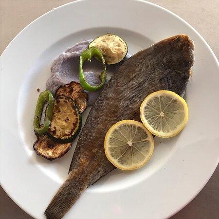 أليكانتى, إسبانيا: Lenguado, pure de coliflor morada y vegetales a la plancha