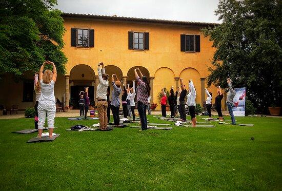 Yoga during a team building retreat