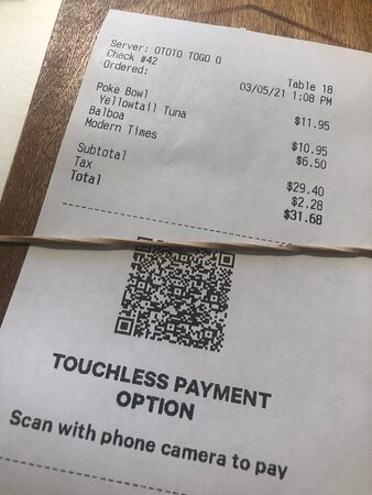 First time I've ever used Touchless Payment at a restaurant --  love it!