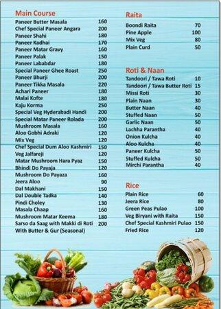 Bijnor, India: menu