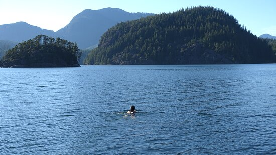 Sue swimming off the jetty. We had a humpback come right in here while we were there.