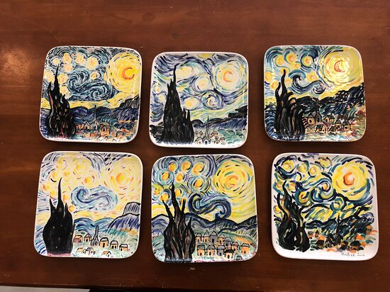 Van Gogh paint your own plate class- they did an amazing job