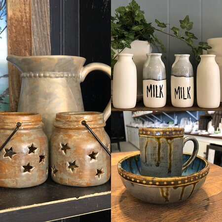 some of our customers created using cool specialty glaze effects and painted sweet country flower vases
