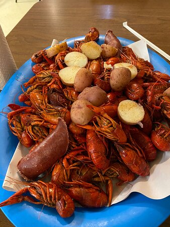 Patterson, LA: Boiled crawfish with potatoes and sausage.