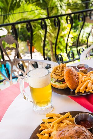 Ice cold beer accompanying our delicious selection of burgers
